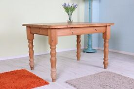SOLID PINE FARMHOUSE TABLE 4 X 3 FT WAXED - CAN COURIER - FREE LOCAL DELIVERY