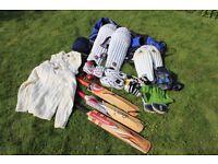 Junior cricket equipment - bag, pads, keeper pads, gloves, helmet, bats shoes etc...