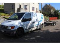 mercedes vito and a tiltbed car transporter trailer
