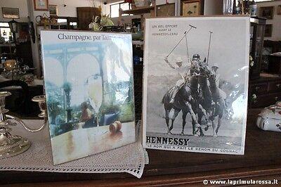 PUBBLICITA CARTECEA VINTAGE  CHAMPAGE PAR TAITTINGER COGNAC HENNESSY ADVERTISING