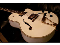 Gretsch style ELECTRIC GUITAR SEMI ACOUSTIC WHITE gold humbuckers