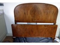 Art Deco burr Walnut Bed head and foot boards. Plus metal side pieces.
