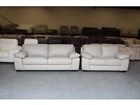 Ex-display Linares grey leather 3+2 seater sofas