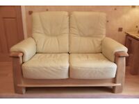 Miranda Leather 2 seater sofa. W144cmsxH93cmsxD90cms.