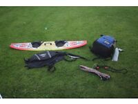Complete Kitesurfing Kit. Kite lines, bar, harness and board