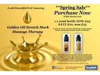 SPRING SALE, GOLDEN OIL 10ML NOW £25. GOLDEN OIL HELPS FADE UNSIGHTLY STRETCH MARKS