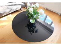 Black glass circular coffee table