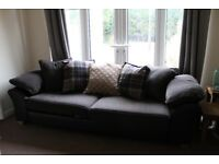 4 Seater DFS Rueben leather/fabric Sofa- delivery available, 2 years old, feather arms and cushions