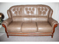 Italian Leather Three Piece Suite With Two Matching Stools (Not Reclining )