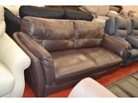 Elegant, brown leather 3 seater - BRAND NEW