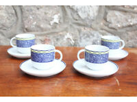Set of 4 Italian Tognana Espresso Coffee Cups & Saucers Porcelain Espresso Cup Demitasse Italy