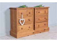 DELIVERY OPTIONS - 2 X SOLID PINE 3 DRAWERS BEDSIDE TABLES WAXED TONGUE GROOVE