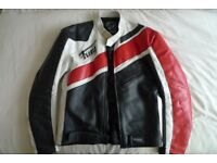 Men's Furygan Retro Leather Motorcycle Jacket - Size 42 / L