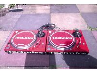 Technics 1210 mk2 Custom Red Turntables & Stanton Trackmaster's