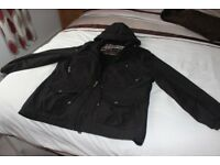 Per Una Ladies waterproof zipped Black Jacket with hood, fully lined