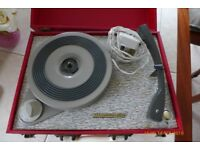 Vintage Westminster record player including some very old records (78's and 45's).