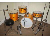 "Mapex Horizon ""Rattan Yellow"" Lacquered Wood Full 4 Piece Birch Club Classic 18inch Jazz Drum Kit"