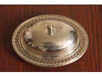 Marples & Co Antique Silver Plated Butter Dish w Lid Greek Design 7913 Sheffield Modernist Deco