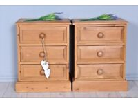 DELIVERY OPTIONS - 2 x MATCHING RUSTIC SOLID PINE BEDSIDE TABLES 3 DRAWERS