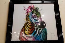 Zebra Colourful Textured Frames Print