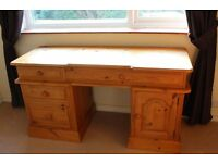 OFFICE DESK IN PINE WITH COMPUTER KEY BOARD SHELF & FILING DRAWERS