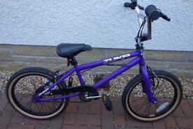 Rooster Zuka 18 inch Boys/Girls BMX Bike - Purple - As New with Stunt pegs