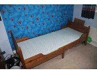 IKEA Leksvik child's extendable bed and mattress, antique pine great condition