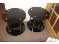 "SIDE TABLES X 2 ROUND TOP AND SHELF BLACK GLASS AND CHROME 18"" HIGH"