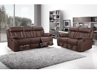Black, Brown, Red Florence Recliner Leather Sofas. Brand New 3+2 Seater