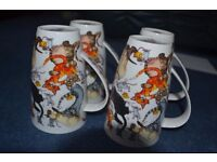 """Set of 4 Dunoon fine bone china large mugs - """"Pussy Galore"""" by Cherry Denman"""