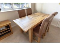 Solid Oak Dining Table & 4 leather chairs - Willis & Gambier Tuscany Collection extending table