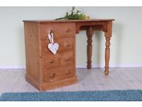 QUALITY RUSTIC SOLID PINE DRESSING TABLE 4 DRAWERS TURNED LEGS - UK WIDE DELIVERY