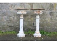 PAIR LARGE Cast Iron ANTIQUE Victorian GARDEN URNS,Column Bases,Pots
