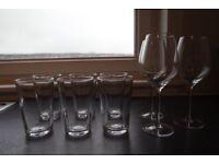6 Glasses and 3 Wine Glasses