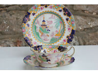 Rare Vintage Antique Royal Doulton Trio Pagoda Pattern Early 1900's Oriental Cup Saucer Sideplate