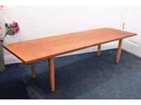 Retro Danish style coffee table, teak veneer, beech legs.