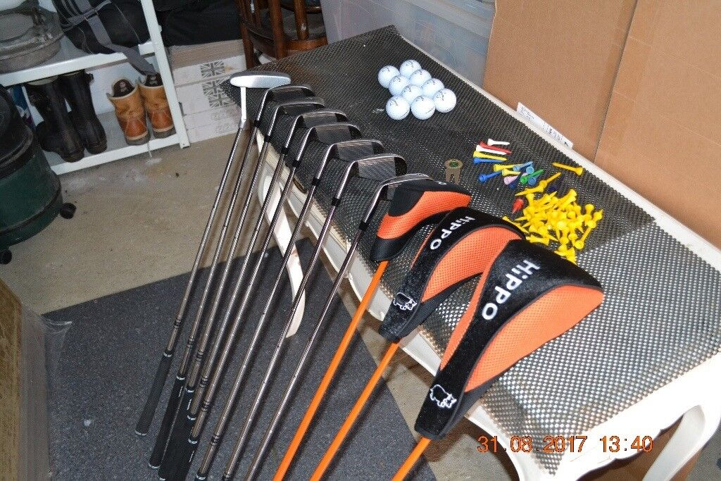 Hippo golf clubs and bag.