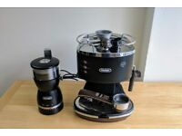 DeLonghi Icona Vintage Espresso Coffee Machine & Electric Coffee Grinder Set!