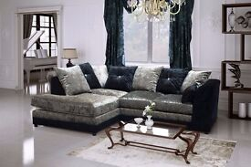 50% off ** Brand New Dylan crushed velvet sofa in Silver ,Black color SAME DAY CASH ON DELIVERY