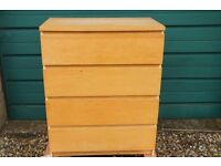 2 sets of pine coloured drawers