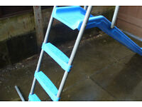 Kids slide suit a 2 to 8 year oldb approx, a strong plastic and galvanised steel slide