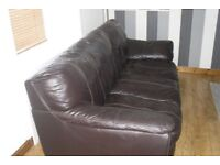 Genuine real leather three seater and two seater sofas
