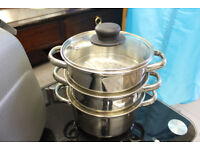 Two tier stainless steel steamer