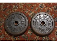 "x2 Cast Iron 25kg Plates Olympic 2"" / 50mm Gym Lifting Weights Training"