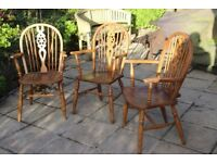 3 spindle back chairs, high quality , with arms