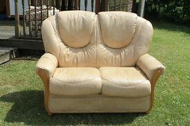 2 Seater Leather Sofa Good Condition Beige in Colour