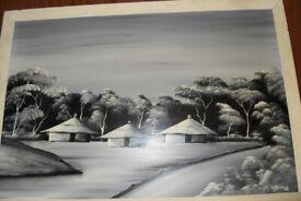 Black/White painting - signed by E. Ngoma - £40