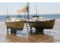 Catamaran cruiser sailing yacht Woods Strider boat sail sailboat sea cruising vessel summer sun fun