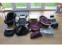 Aubergine Silvercross Surf complete Travel System including isofix base