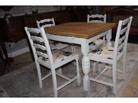 vintage shabby chic oak extending table and four chairs